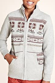 Cotton Rich Navajo Print Zip Through Sweatshirt [T87-4979V-S]