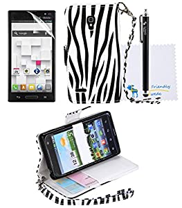 The Friendly Swede Basics - PU Leather Stand Wallet Case Cover for LG Optimus L9 P769 (T-Mobile Only) + Matching Stylus + Screen Protector + Cleaning Cloth (Black and White Zebra)