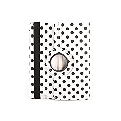 BMS Apple iPad Mini Retina Display 360 Rotating Polka Dot Leather Case Cover Stand White