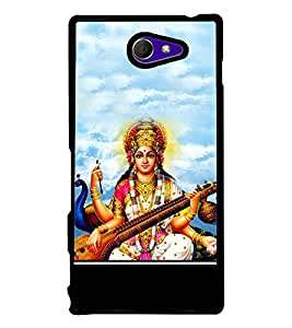 Maa Saraswati with Veena 2D Hard Polycarbonate Designer Back Case Cover for Sony Xperia M2 Dual :: Sony Xperia M2 Dual D2302