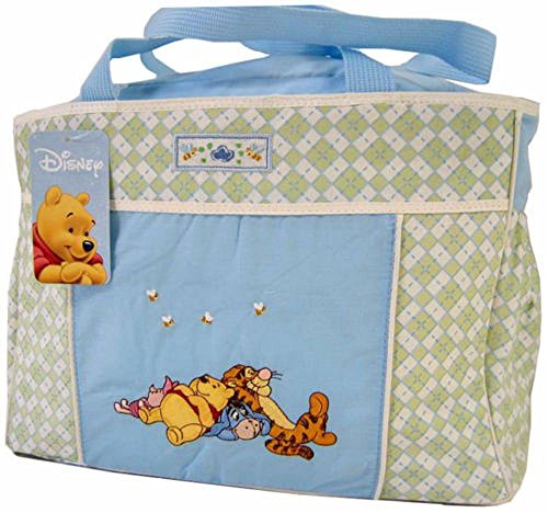 Disney Winnie The Pooh Blue Green Baby Large Tote Diaper Bag - 1