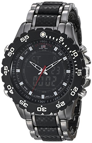 U.S. Polo Assn. Sport Men's US8170 Black and Gunmetal Ana-Digi Bracelet Watch image