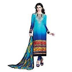 Resham Fabrics Blue French Crepe Dress Material