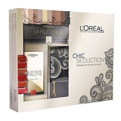 L'Oréal Make Up Designer Paris Cofanetto Natale Chic Seduction: pochette + palette Ombrèe + palette labbra Color Riche