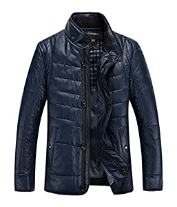 YINUOBONI Men's Fashion Slim Winter Warm Leather Down Coat Jackets Blue 2XL