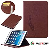 iPad Mini 1/2/3 Case - WIITOP Vintage Folio Flip PU Leather with *Embossed Feather Series* Magnetic Closure Stand Cover for Apple iPad mini 1&2&3 Tablet - Brown