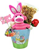 Plush Toy Pink Stripe Sock Monkey with Bunny Ears with Carmel Popcorn and Assorted Candy in Pastel Color Happy Easter Basket