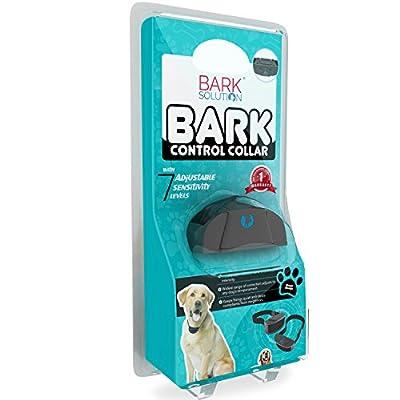 Bark Solution ® improved Anti Bark Dog Collar Training System, Electric No Bark Shock Control with 7 Adjustable Sensitivity Control & Manual
