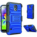 Galaxy S5 Case,Samsung Galaxy S5 Belt Clip 3 in 1 Combo Case Shockproof Drop Proof Heavy Duty Rugged Soft Silicone Dual Layer Holster Cover Case with Kickstand and Locking Belt Swivel Clip for Samsung Galaxy S5 i9600 SV GS5 BLUE