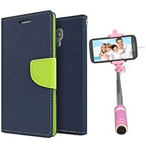Aart Fancy Diary Card Wallet Flip Case Back Cover For Mircomax A210 - (Blue) + Mini Aux Wired Fashionable Selfie Stick Compatible for all Mobiles Phones By Aart Store