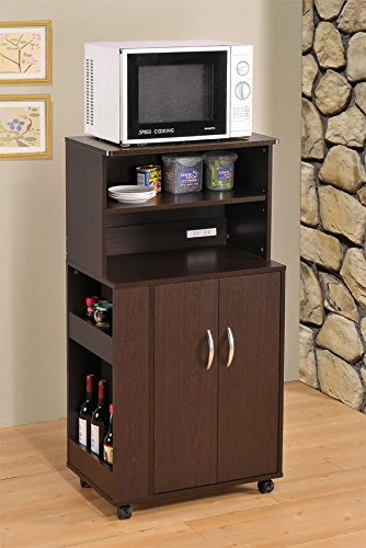 Kitchen Microwave Cart With Spice Rack And Electrical Socket Espresso Finish front-538154