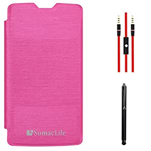 SumacLife PU Leather Flip Cover Case for LG G3 D850 (Magenta) + AUX Cable + Stylus