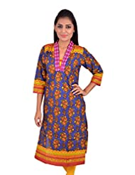 LA MALL Women's Floral Print Cotton Kurti - B00WX3DDCO