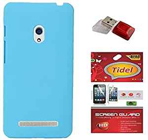 Tidel Stylish Rubberized Plastic Back Cover For Asus Zenfone 5 ( SkyBlue ) With Screen Guard & Data Card Readar