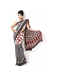 Aaradhya Bagru Hand Block Print Cotton Saree For Women - B00TF0DNUA