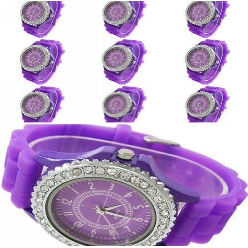 WLM 10pcs New Classic Gel Silicone Crystal Men Lady Jelly Watch Gifts Stylish Fashion Luxury