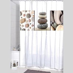 rideau de douche polyester galet taupe cuisine maison. Black Bedroom Furniture Sets. Home Design Ideas