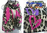 NEW HOT CELEBRITY STYLE LONDON LEOPARD HEART PRINT LARGE FASHION SCARF NEW. 8 COLOURS TO CHOOSE FROM EXCLUSIVE FROM Accessorize-me.