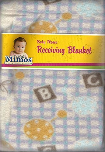"Baby Fleece Receiving Blanket 30"" X 30"" Blue & Gray Checker Board with Alphabets By Little Mimos"