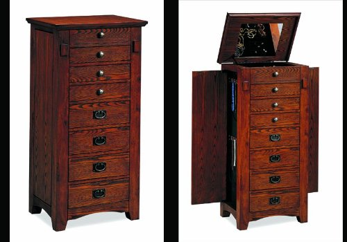 New Wooden Oak Jewelry Armoire Mirror Wood Box Chest back-950011