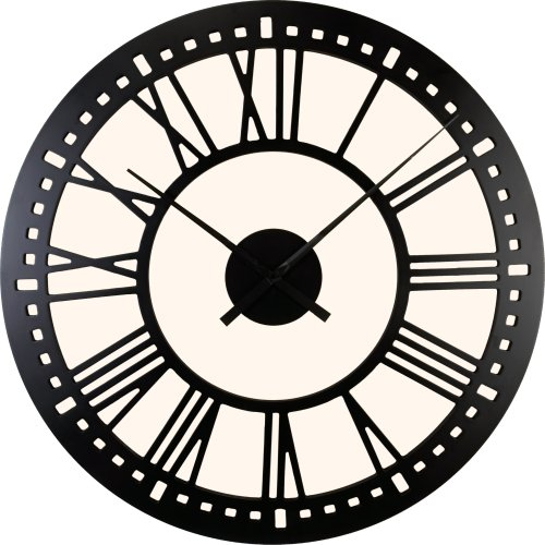 River City Clocks Indoor Black Tower Wall Clock with Cream Background - 40 Inch Diameter - Model # L26-140