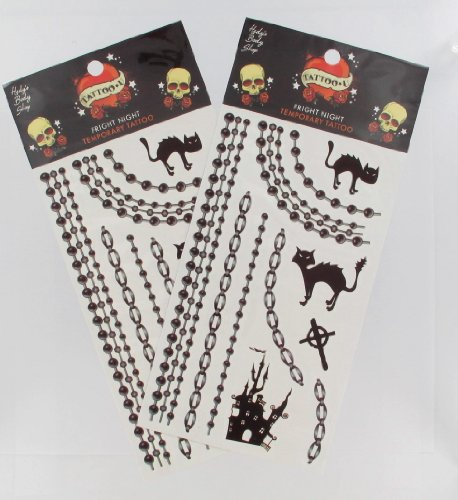 2 Sheets of Halloween Cats, Haunted House, and Chains Temporary Tattoos - 1