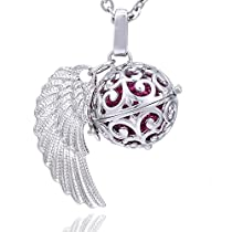 Morella Damen Schutzengel Halskette Edelstahl 70 cm mit Anhänger Engelsflügel und Klangkugel Zirkonia in Schmuckbeutel  Von Morella