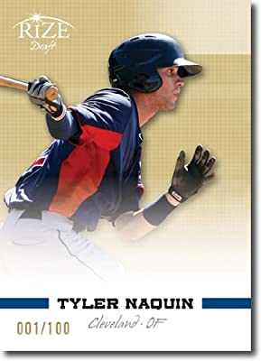 2012 RIZE Draft Prospects GOLD Paragon Card #56 Tyler Naquin - Cleveland Indians (Rookie / Prospect / 1st Round) (Serial #d to 100) MLB Baseball Trading Cards