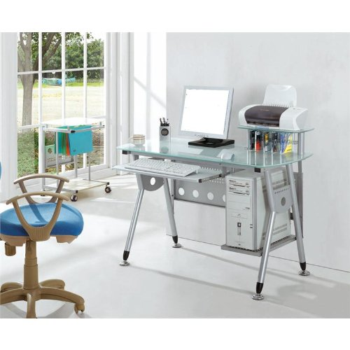 SixBros. Computer Desk - PC Workstation - Office Desk - Glass/Silver-Grey - CT-3783/40