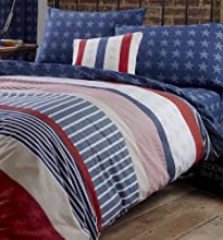 TWIN AMERICAN STARS AND STRIPES RED WHITE AND BLUE UNITED STATES COTTON DUVET SET QUILT COVER