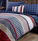 Catherine Lansfield Stars and Stripes Single Bed Quiltset, Multi