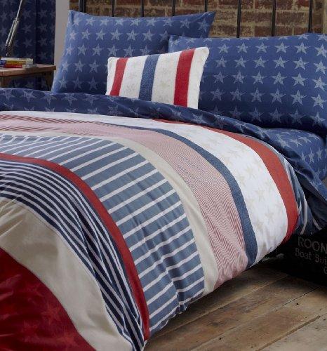 Catherine Lansfield Stars and Stripes Bettbezug-Set in Einzelbettgröße mehrfarbig