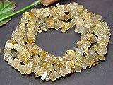 g3-1570G  1連90cm タイチンルチルクォーツ 金針水晶 さざれ チップ 穴あり パーツ ビーズ ブラジル産 天然石 パワーストーン