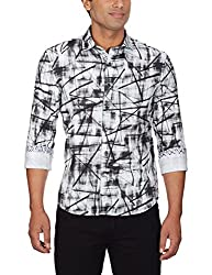 Punctuate Men's Casual Shirt (0666995113158_PNS161770_medium_White Bottle Print)