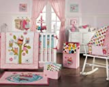 Zutano Owls 4 Piece Crib Bedding Set, Pink