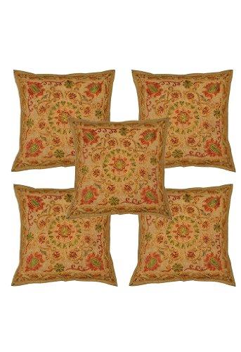 Imagen 1 de Trabajos de bordado indio Algodón 5 Piece Set Cojín Tamaño 16 x 16 pulgadas