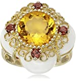 14k Yellow Gold Brilliant Cut Citrine Multi-Gemstone Ring