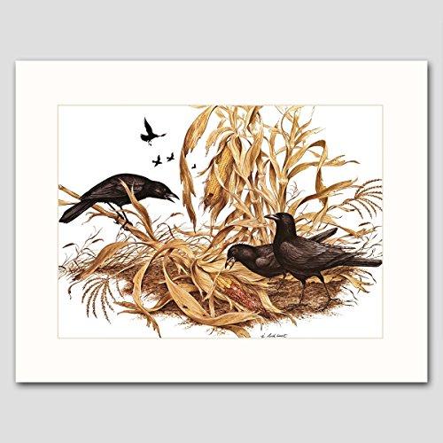 Black Crows Art w/Mat (Farmhouse Wall Decor, Bird Artwork)