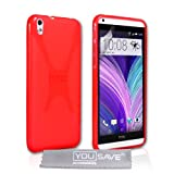 Yousave Accessories HTC Desire 816 Case Red Silicone X-Line Cover
