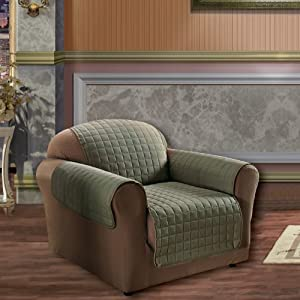 Elegance Linen Quilted Slip Cover for Chair, Sage