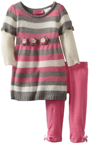 51bF0zYgkBL Young Hearts Baby girls Infant 2 Fer Crochet Flower Sweater Dress Legging Set, Gray, 24 Months