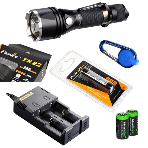 Fenix Tk22 L2 Cree Xm-L2(U2) 680 Lumen Tactical Led Flashlight With Fenix Arb-L2 18650 2600Mah Li-Ion Rechargeable Battery, Nitecore I2 Intelligent Charger, Smith & Wesson Carabeamer Led Clip Light And 2 X Edisonbright Cr123A Lithium Batteries Package
