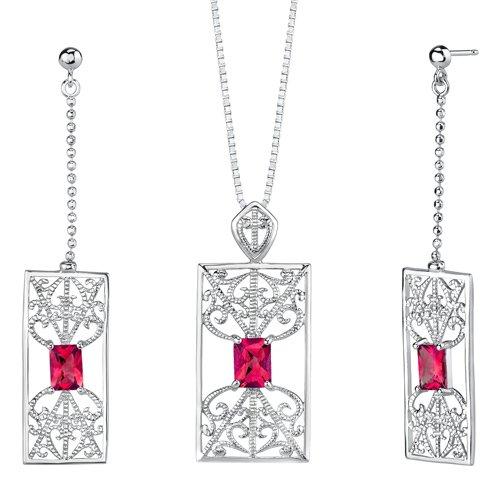 Revoni Radiant Cut Ruby Pendant Earrings Set in Sterling Silver