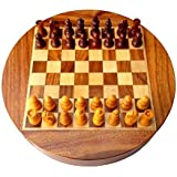9 Round Collectible Wooden Chess Game Board Set + Wood Magnetic Crafted Pieces