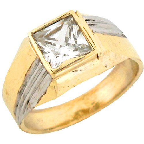 14k Yellow /& White Gold Mens Fancy Ring Solid Band Polished Diamond Cut Genuine Two Tone 16MM