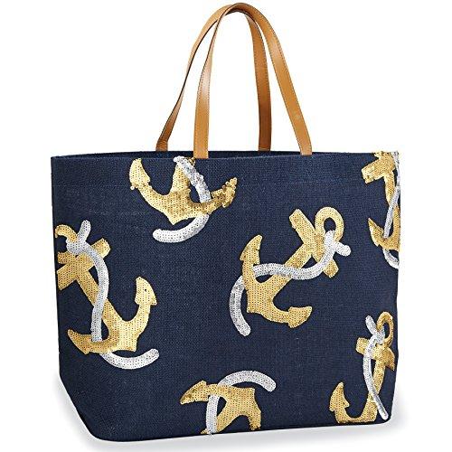 Mud Pie 8613233 Sequin Anchor Dazzle Jute Beach Bag Tote (M Mud Pie Bag compare prices)