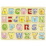 Highdas Forma de madera Clasificaci�n Puzzles, 26 piezas cl�sicas clavija de madera Rompecabezas educativos para la primera del alfabeto juguetes de aprendizaje para ni�os Un Tollders