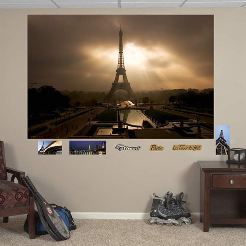 Eiffel Tower at Dusk Mural - REAL BIG Fathead Wall Graphics - (W x H) 6'0