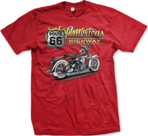 Americas Highway Route 66 Mens T-shirt, Old School Motorcycle Rt 66 Mens Tee Shirt, XX-Large, Red