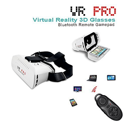 VIGICA 3D VR Pro Glasses Virtual Reality Headset for 3.5-6.2 inch iPhone Android Smartphone with Bluetooth Remote Contoller Video Moives Game